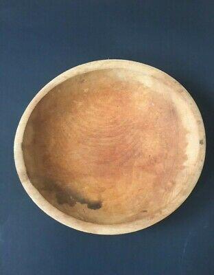 Early American Hand Carved Wooden Bowl Primitive Wood Rustic Home Decor 9-12