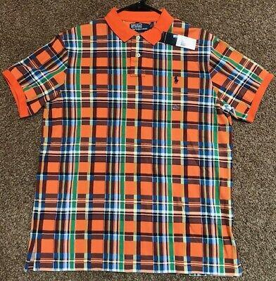 Polo Ralph Lauren Plaid Orange Green Blue Custom Fit Size Large NWT NEW $85