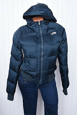 The North Face 550 Fill Goose Down Quilted Puffer Hooded Jacket Sz S Womens