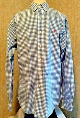 Ralph Lauren Polo Blue White Gingham Checked Shirt Long Sleeve Custom Fit Xl
