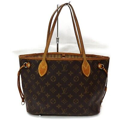 Authentic Louis Vuitton Tote Bag Neverfull PM M40155 Browns Monogram 401153