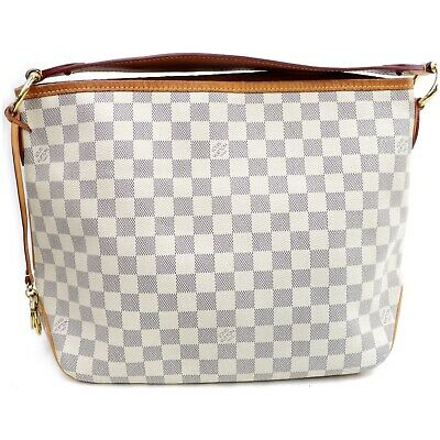 Authentic Louis Vuitton Hand Bag Delighful PM N41447 Cream Damier Azur 401196