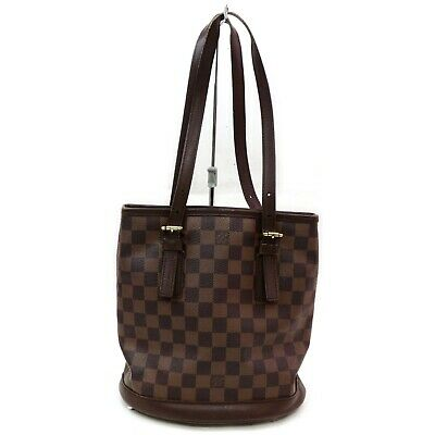 Authentic Louis Vuitton Tote Bag N42240 Mareis Bucket Browns Damier 401220