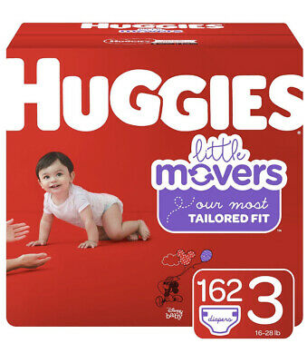 Huggies Little Movers Baby Diapers, Size 3 to 6 162Ct 14 lbs & up free shipping