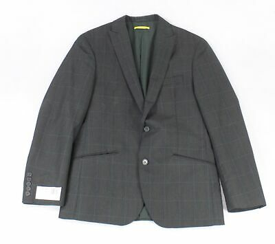 Designer Brand Mens Blazer Gray Size Large L Plaid Slim Two-Button $275- #256