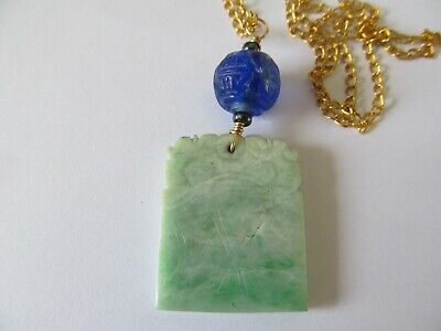 ANTIQUE CARVED GREEN JADE/JADEITE w/BLUE SHOU PEKING BEAD PENDANT GOLD NECKLACE