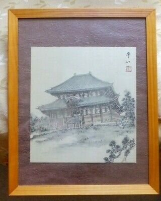 JAPANESE TEA GARDEN PALACE Watercolor Painting on linen  signed VINTAGE ORIENTAL