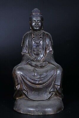 Chinese Antique Qing Dynasty Gilt Lacquered Bronze Seated Buddha