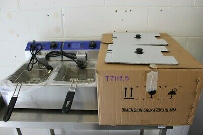 Twin Tank Countertop Electric Fryer -1ph -INF-EF-6+6   590×470×310mm– Tested Wor