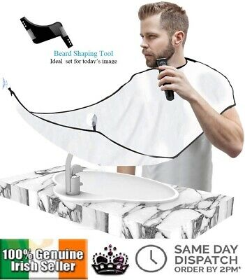 Mens Facial Hair Beard Apron Cape Shave Bib Trimming Catcher Beard Comb Trim