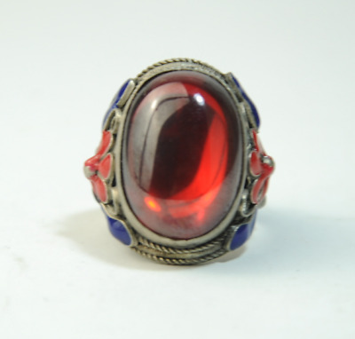 Old china cloisonne Miao silver inlay natural red gem antique ring gift /Aa01