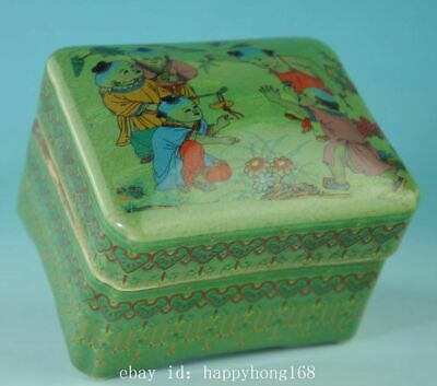 china old green glaze porcelain hand-made child box /qian long mark Cb01E
