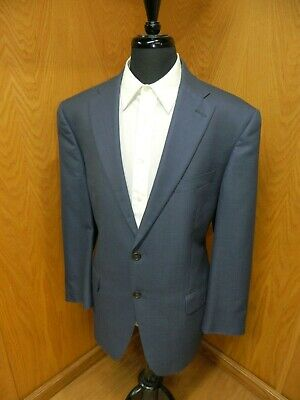 Mens Blazer Sport coat Jacket Hart Schaffner Marx 46L Blue Weave Wool Blend S#96