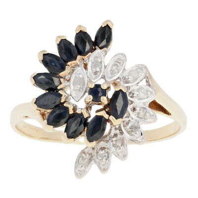 Sapphire & Diamond Swirl Ring - 10k Yellow Gold Bypass Marquise 1.33ctw