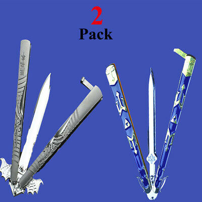 2Pcs Folding Tactical Practice Butterfly Knife Balisong Trainer Training Knifes