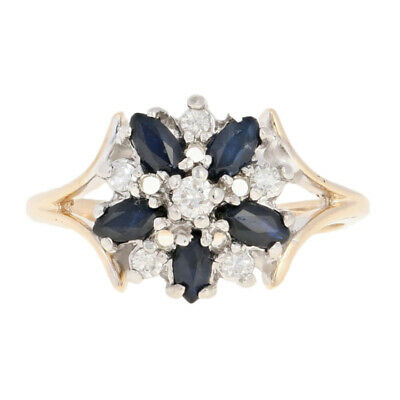Sapphire & Diamond Flower Ring - 14k Yellow Gold Marquise .74ctw