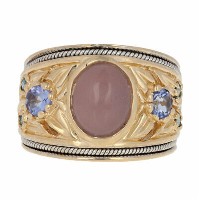 .60ctw Chalcedony, Tanzanite, & Blue Diamond Ring - 14k Yellow Gold Cabochon