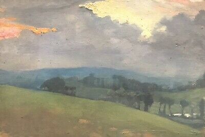 FRANK HOBDEN (1859-1936) FINE 1900s ENGLISH IMPRESSIONIST OIL - SUNRISE FIELDS