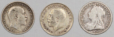 1898 1904 1916 Great Britain Sterling Silver Threepence Lot/3 - Pleasing Circs