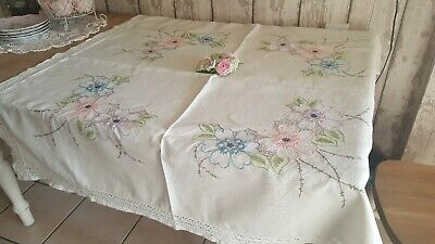 """Vintage crochet edge hand embroidered LINEN tablecloth  46"""" square~ beautiful"""