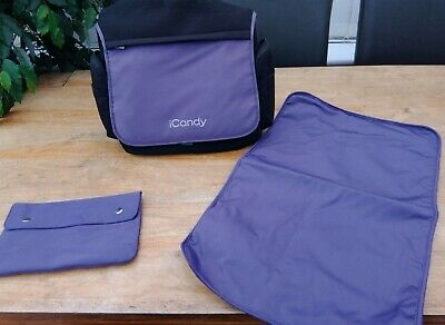 Icandy Peach 💜 Baby Nursery Changing Bag Loganberry 💜(Purple) Vgc & Extras 💜