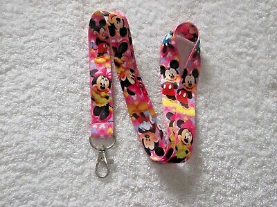 MICKEY & MINNIE MOUSE Character LANYARD Pink & Yellow P