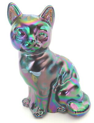 "Fenton 3.75"" Iridescent Carnival Glass Sitting Cat W/White & Pink Flowers Signed"