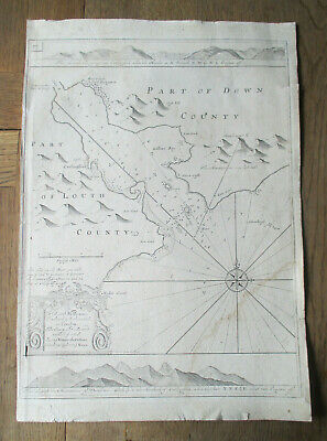 Original C.1774 Map of Carlingford Lough Louth by Capt Greenville Collins Irish