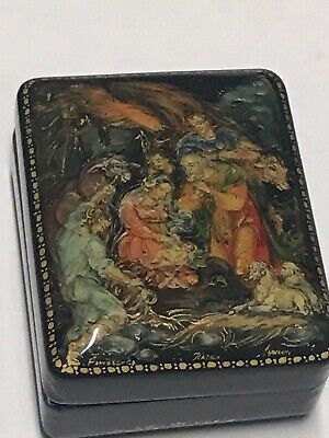 Lackdose Russland Lackmalerei Handpainted Palekh Laquer Box Christmas