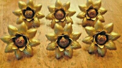 6 - Curtain Tie Backs Brass Colored Metal Sun Flowers Vintage