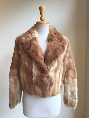 Vintage French Fawn Rabbit Fur Cropped Jacket, Size 10, Good Conditon