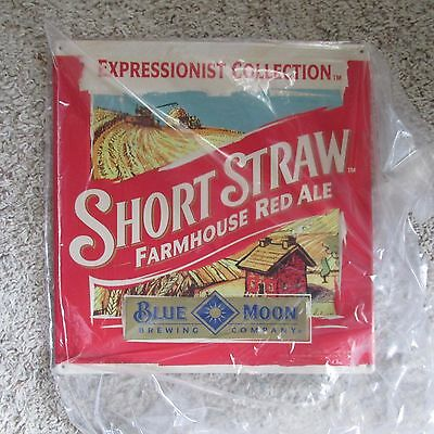 Blue Moon Brewing Co. Tin Tacker Bar Sign SHORT STRAW FARMHOUSE ALE NEW