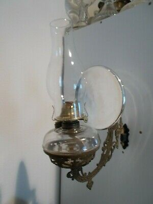 OLD 1890s IDEAL STOVER 1890s ANTIQUE CAST IRON WALL BRACKET OIL LAMP & REFLECTOR