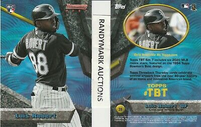 Luis Robert CHICAGO WHITE SOX TOPPS 2020 THROWBACK 1994 BOWMAN'S BEST TBT 39 RC
