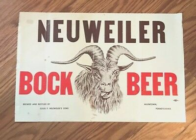 Rare Vintage Neuweiler Bock Beer - Brewing Co Advertising Sign Allentown Pa