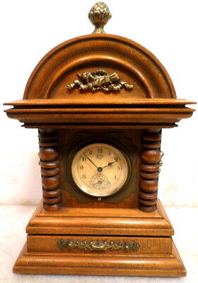 1890 Signed Lenzkirch Time & Alarm Bracket Clock With Porcelain Dial
