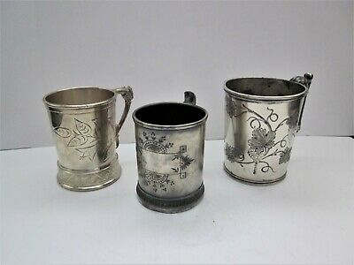 Lot of 3 Antique Victorian Silver Plate Engraved Mug/ Cups