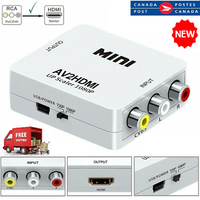 1080P HDMI To AV Adapter 3RCA Converter Cable Composite 720P Video Audio For TV
