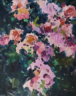 JOSE TRUJILLO Oil Painting LARGE IMPRESSIONISM FLORAL PINK ROSES FLOWERS 24X30
