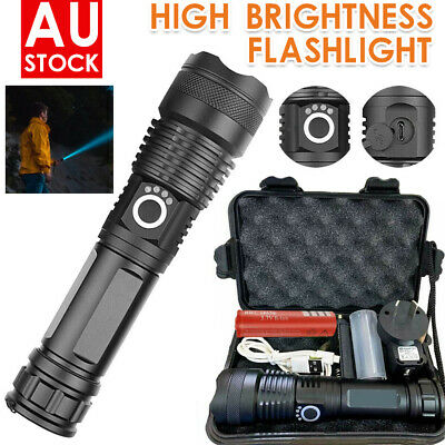High Power 900000Lumens XHP50 Zoom Flashlight LED Rechargeable Torch Headlamp AU
