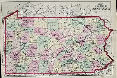 "1800s antique ATLAS PENNSYLVANIA counties state folio 15.5x13"" 22 maps tipped in"