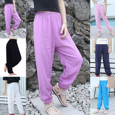 Children Girls Boys Casual Baggy Pants Elastic Waist Thin Home Solid Trousers