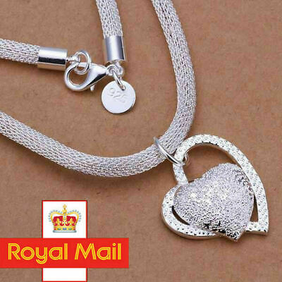 925 Sterling Silver Double HEART Pendant Necklace Chain Women Jewellery Gift UK
