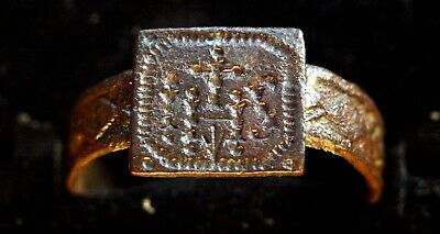 5136_2. Medieval the Jesuit Order ring. bronze. inscription IHS.