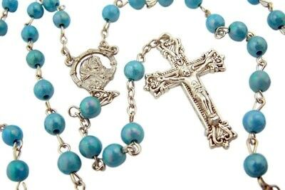 "Womens Catholic Gift 6MM Blue Bead Madonna of the Streets 18"" Rosary Necklace"