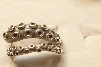 Rare Octopus Arm Sterling Silver Old Pawn Big Chunky Ring