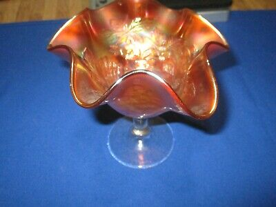 Antique Marigold Carnival Glass Peacock At The Fountain Compote 1910-1920