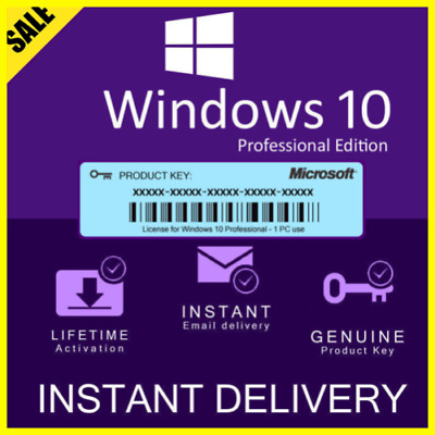 WINDOWS 10 PRO🔥PROFESSIONAL ⚡GENUINE LICENSE KEY 🔑 Instant Delivery