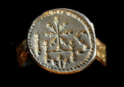 5137_2. Medieval status ring of the Jesuit Order. bronze. IHS inscription.