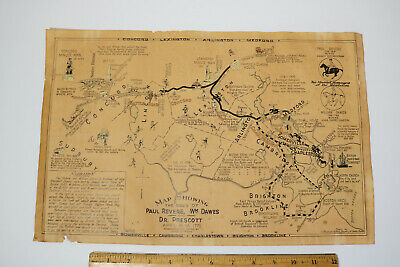 RARE OLD 1929 PICTORIAL MAP THE RIDES OF PAUL REVERE CONCORD LEXINGTON J. Fagan